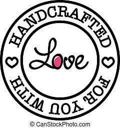 distintivo, amore, vettore, retro, lei, hand-made