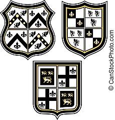 distintivo, araldico, emblema, scudo, reale