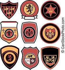 distintivo, classico, emblema, reale, elemento