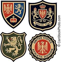 distintivo, classico, emblema, scudo, reale