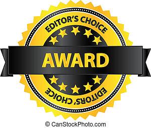 distintivo, editors, premio, scelta