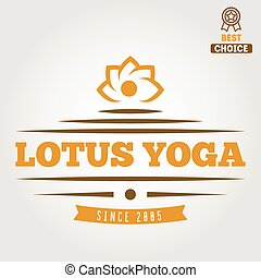 distintivo, elementi, emblema, club, vendemmia, logotype, yoga, o, logotipo