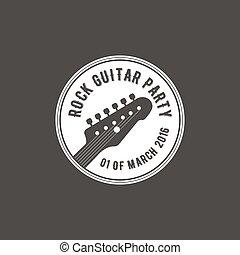 distintivo, emblema, chitarra, isolato, illustrazione, scuro, vettore, etichetta, festa, fondo, roccia, instrument., logotipo, musicale, casato