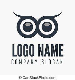 distintivo, emblema, gufo, corporazione, logotype, elemento, etichetta, affari tela, o, logotipo