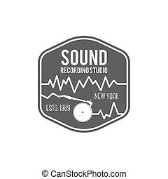 distintivo, emblema, suono, isolato, illustrazione, registrazione, vettore, etichetta, fondo, studio, instrument., logotipo, bianco, musicale, casato