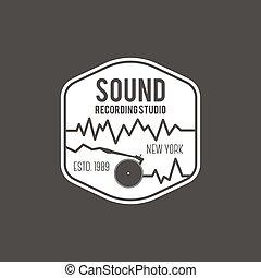 distintivo, emblema, suono, isolato, illustrazione, scuro, vettore, etichetta, fondo, studio, instrument., logotipo, registrazione, musicale, casato