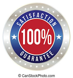distintivo, formato, percento, soddisfazione, vettore, 100, ...