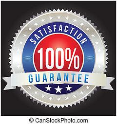 distintivo, formato, percento, soddisfazione, vettore, 100, garanzia