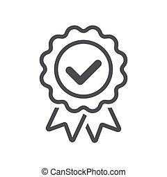 distintivo, icona, marchio, linea, vettore, certificato, corretto, o, approvato