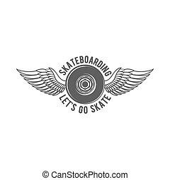 distintivo, logotype, biking, vendemmia, pattinaggio