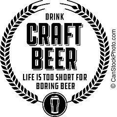 distintivo, o, birra, mestiere, label.