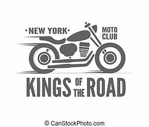 distintivo, poster., vendemmia, tipografico, vettore, etichetta, motocicletta, re, logotipo, o, strada, icona