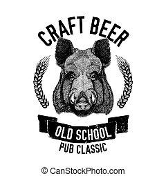 distintivo, sagoma, maiale, verro, pezza, birra, emblema, mano, disegnato, logotipo, maiale, menu, selvatico, coperchio