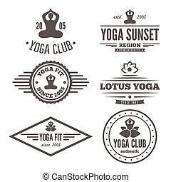 distintivo, set, emblema, club, vendemmia, logotype, elementi, yoga, o, logotipo