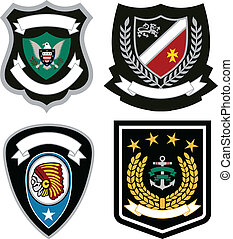 distintivo, set, emblema