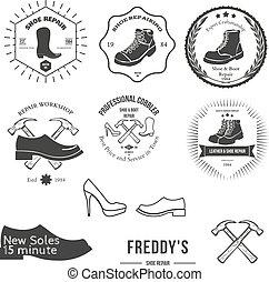 distintivo, set, emblema, vendemmia, logotype, elementi, calzolaio, o, logotipo