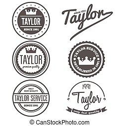 distintivo, set, emblema, vendemmia, logotype, elementi, taylor, o, logotipo