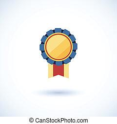 distintivo, simbolo, vincitore, nastri