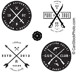 distintivo, spada, logotipo, set, fucile, vettore