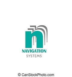distintivo, vettore, navigazione, sistemi