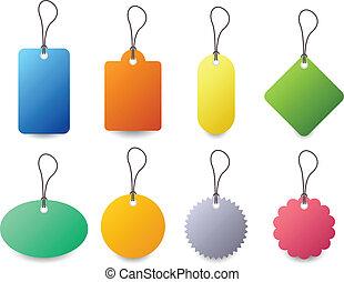distintivo, vettore, set, etichetta, etichetta