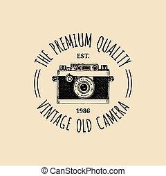 distintivo, vettore, vecchio, vendemmia, fotografia, emblem., macchina fotografica, etichetta, logo.