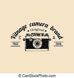 distintivo, vettore, vecchio, vendemmia, fotografia, illustrazione, emblem., macchina fotografica, etichetta, logo., sketched, mano, ecc., studio, negozio