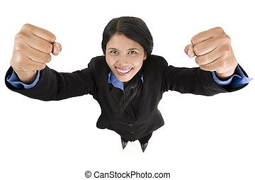 distorção, série, -, super, mulher negócio