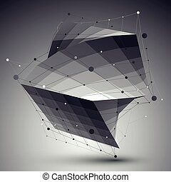 Distorted 3D abstract object with lines and dots over dark background.