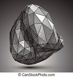 Distorted galvanized 3d object created from geometric...