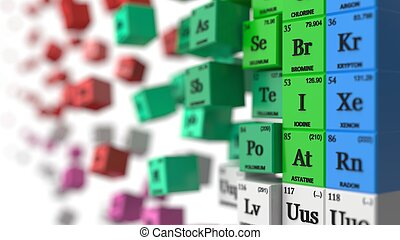 distorted periodic table concept. cubes colored by element groups. 3d illustration