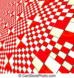 Distorted red checkers - Abstract distorted red and white...