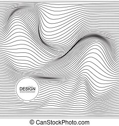 Distorted wave monochrome texture. Abstract dynamical...