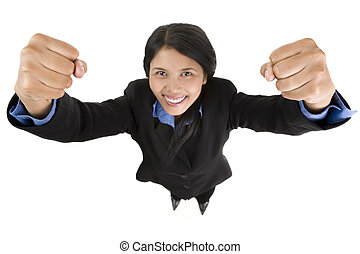 A young business woman feels great and raise both of her fist against the camera. Main focus on her fists.