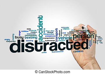 Distracted word cloud concept on grey background