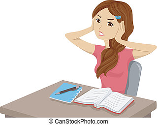 Distracting Noise - Illustration of a Girl Having Trouble...