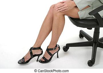 distraendo, 3, gambe, ufficio, affari