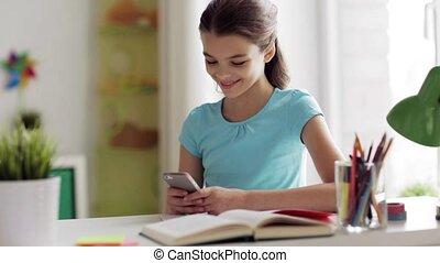 distraire, girl, smartphone, devoirs