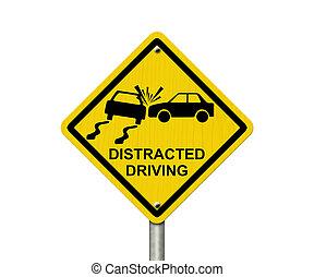 distrait, non, conduite, signe