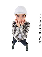 Distraught female construction worker