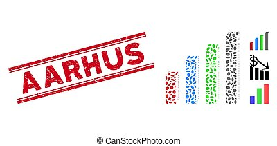 Distress Aarhus Line Stamp with Mosaic 3D Bar Chart Icon