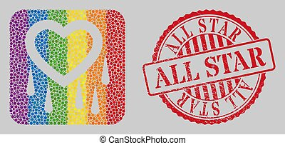 Distress All Star Stamp Seal and Mosaic Crying Heart Subtracted for LGBT
