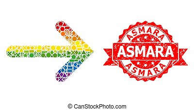 Distress Asmara Stamp and LGBT Colored Geometric Right Arrow Mosaic