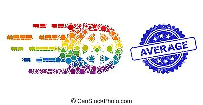Rainbow vibrant vector tire wheel collage for LGBT, and Average unclean rosette seal print. Blue seal has Average title inside rosette.