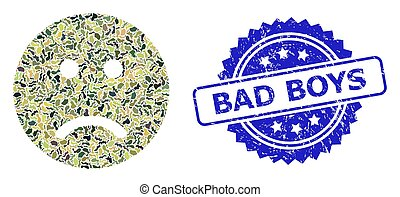 Distress Bad Boys Stamp Seal and Military Camouflage Composition of Sad Smiley