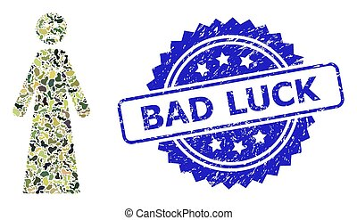 Distress Bad Luck Stamp and Military Camouflage Collage of Sad Woman