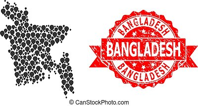 Distress Bangladesh Seal and Pointer Mosaic Map of ...