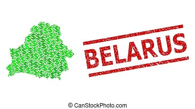 Distress Belarus Stamp and Green People and Dollar Mosaic Map of Belarus