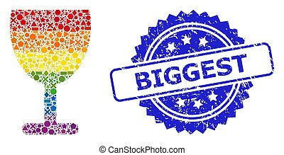Spectrum colorful vector wine cup mosaic for LGBT, and Biggest rubber rosette seal. Blue stamp seal contains Biggest caption inside rosette.