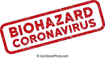 Distress Biohazard Coronavirus Watermark with Rounded Rectangle Frame
